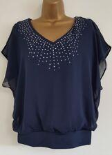 NEW Ex M&Co 10-22 Batwing Sleeves Embellished Cold Shoulder Navy Blue Top Blouse