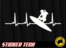SURFER SURFING HEART PULSE STICKER DECAL SUITS WAVES SURF BOARD BEACH