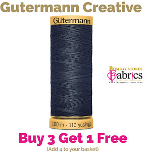 Gutermannn 100% Natural Cotton Sewing Thread 100m Spools Machine & Overlocker