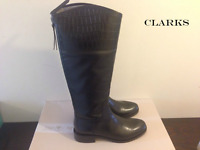 CLARKS **Marquette Snow Black Leather **Women's Knee High Boots UK 6.5 RRP £170