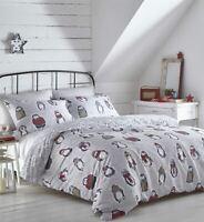 Snowy Penguins Festive Grey Reversible Duvet Cover Bedding Bed Set