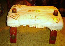 VINTAGE WHITE GOLD EMBOSSED CAMEL SCENE CAMEL SADDLE STOOL