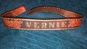 "Vintage '70's  Hand Tooled Leather Western 30"" Belt 'VERNIE'"
