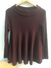 COS Burgundy Roll/ Polo Neck Wide Loose Wool Pull Over Jumper UK S (10)