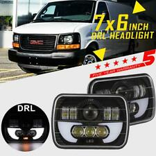 "7x6"" 5x7 LED Headlight 150W Halo Hi/Low Beam DRL For GMC Savana 1500 2500 3500"