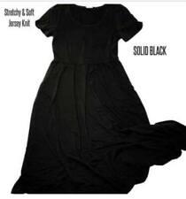 LuLaRoe 2XL 2X RILEY DRESS EMPIRE MIDI SOLID BLACK JERSEY KNIT NEW STYLE EASTER