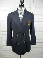 Ralph Lauren Crest Blazer Womens 8 Blue Jacket Wool Coat Work Ladies Casual