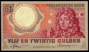 NETHERLANDS 25 GULDEN 1955 C. HUYGENS PICK # 87 XF+  RARE BANKNOTE SEE PHOTOS
