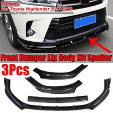 3x Front Bumper Lip Spoiler Splitter Carbon Fiber For Toyota Highlander 2017-19