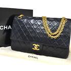 CHANEL CC Matelasse Chain Shoulder Bag Leather Black France Vintage 670BU553
