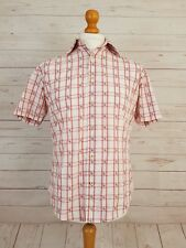 Ben Sherman Men's Red & White Check Short Sleeve Buttoned Shirt Size Medium