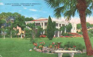 Postcard Ephemera Memorial Gamble Mansion Bradenton FL Florida Civil War
