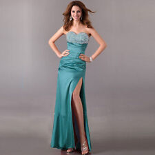Handbeaded Coctail Prom Evening Formal Long Corset Cyan Blue Dress Ball Gown