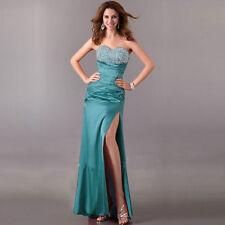 Handbeaded Coctail Prom Evening Formal Long Corset Cyan Blue Dress Ball Gown
