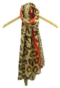 UK Coffee Beige Red Stripes Leopard Print Scarf Cotton Soft Christmas Gift