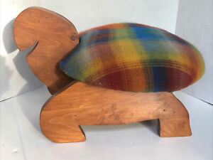 Vintage Hand Made Wooden Turtle Shaped  Cushioned Foot Stool Plaid Fabric
