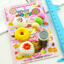 8Pcs Cartoon Food Rubber Pencil Eraser Set Stationery Novelty Gift Toy Kit New