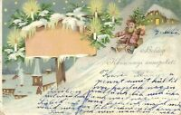Santa Claus on a Sled with a Pine Tree, Christmas, Beautiful Old Litho Postcard
