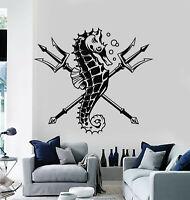 Vinyl Wall Decal Trident Seahorse Animal Marine Ocean Sea Stickers Mural (g1181)