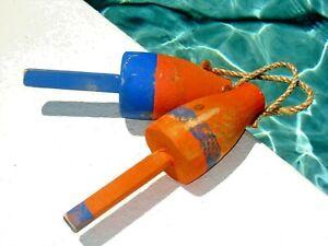 "Wooden Vintage Orange Maine Decorative Lobster Trap Buoy 10"" - Set of 2 Nautical"