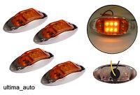 4 piezas 24v 6 LED Lateral Cromo Marcador Naranja Ámbar Luces Para Scania Man