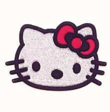 HELLO KITTY SILVER & RED IRON ON EMBROIDERED FABRIC APPLIQUE PATCH USA SELLER