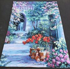 Birdbath Fountain ~ Floral & Garden Entranceway Grande Tapestry Wall Hanging
