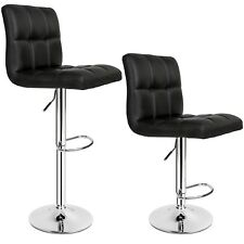2 Bar Stools Set Faux Leather Kitchen Stool Breakfast Chair Chrome Lounge 2x Black Chairs