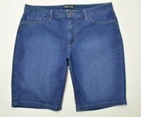 Lee Mid Rise BERMUDA Size 16 Womens DARK Wash STRETCH Denim BLUE Jean SHORTS