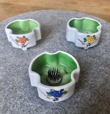 Antique Korean Porcelain, Hand-Painted, Flower Holder, Set of 3