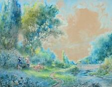 AUBREY RAMUS - FRANCIS E JAMIESON Painting GROUNDS OF TINTERN ABBEY c1920