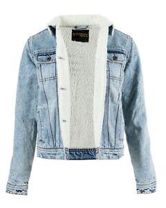New Women's Ladies Sherpa Lined Denim Premium Jeans Borg Jacket  Trucker Coat