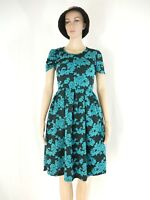 LuLaRoe Womens Black Teal Blue Textured Floral  Amelia Dress Size X Small
