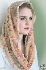 NEW Tiny Flowers  Lace Infinity Chapel Veil Mantilla Head Covering Latin Mass