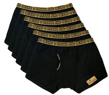 6x Mens Underwear Black Boxer Briefs Gold Waistband Frank and Beans Modal Cotton