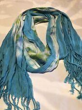 Vintage Blue Green Tie Dye Tasseled Shawl Wrap Scarf