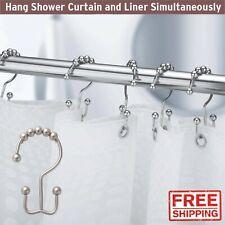 Double Glide Roller Shower Curtain Rings Hooks Bath Stainless Steel Chrome 12Pcs