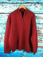 Mens JOS A BANK Lambs Wool Red Speckled 1/4 Zip Pullover Sweater M