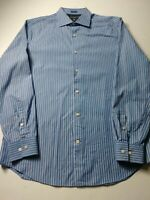 Banana Republic Mens Fitted Shirt Size M Blue Striped Long Sleeve Button Front