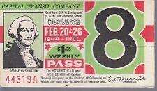 Trolly/Bus pass capital Transit Wash. DC--1944 Washington-----77