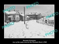OLD LARGE HISTORIC PHOTO OF WARATAH TASMANIA, VIEW OF THE MAIN ST & HOTEL c1900