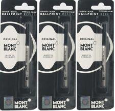 3 ORIGINAL MONT BLANC MONTBLANC BLACK BALLPOINT REFILL MED POINT FREE SHIPPING