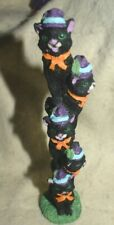 "Estate Halloween Decor,7-1/2"" Tall Resin Stick of Cats on top of each other Cute"