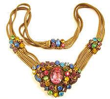 Czech Antique Art Deco Multi Chain Open Back Bezel Set Rhinestone Necklace*E501