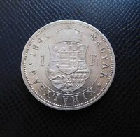 HUNGARY / SILVER 1 FORINT 2./ 1891 K-B Fiume!!