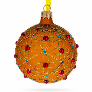 Jeweled Crosses on Gold Glass Ball Christmas Ornament