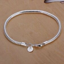 "Hot Quality 925 Silver SP Fashion Snake Chain Bracelet 3mm 8"" European beads fit"