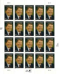 President Ronald Reagan 37 Cent USPS Stamp Sheet 20 Stamps 2005 USA 37c America