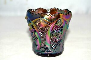 Rare Vintage Imperial Amethyst Carnival Glass Toothpick Holder
