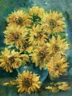 Contemporary German Still Life With Sunflowers Oil Painting on Canvas